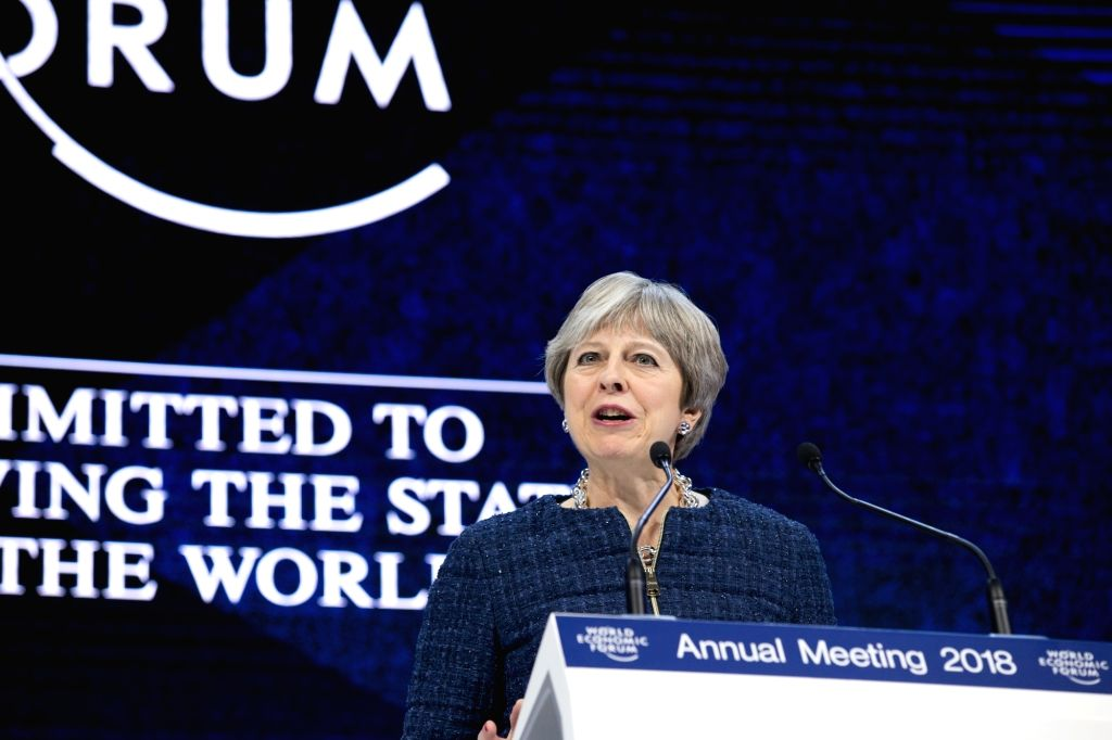 DAVOS, Jan. 25, 2018 - British Prime Minister Theresa May delivers a speech during the 48th annual meeting of the World Economic Forum (WEF) in Davos, Switzerland, on Jan. 25, 2018. The 48th World ... - Theresa May