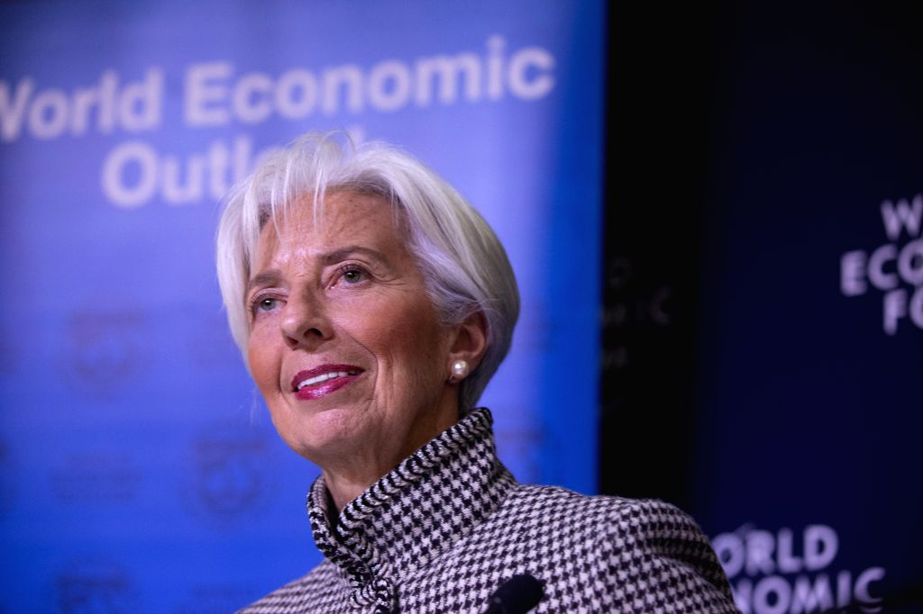 DAVOS (SWITZERLAND), Jan. 21, 2019 International Monetary Fund (IMF) Managing Director Christine Lagarde speaks at a press conference in Davos, Switzerland, Jan. 21, 2019. The ...