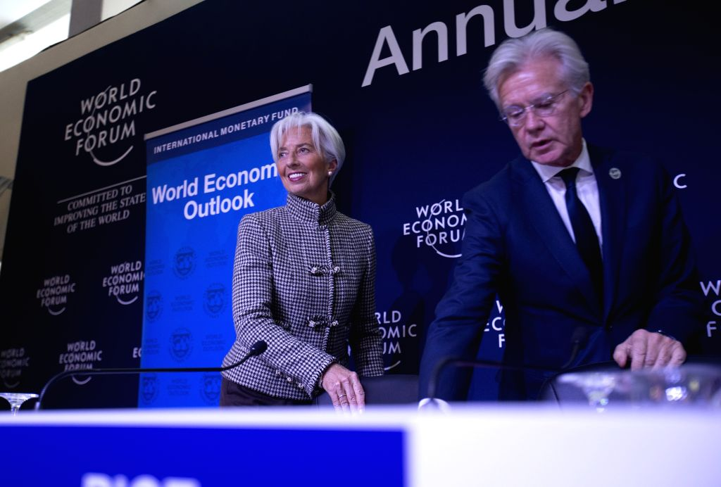 DAVOS (SWITZERLAND), Jan. 21, 2019 International Monetary Fund (IMF) Managing Director Christine Lagarde (L) attends a press conference in Davos, Switzerland, Jan. 21, 2019. The ...