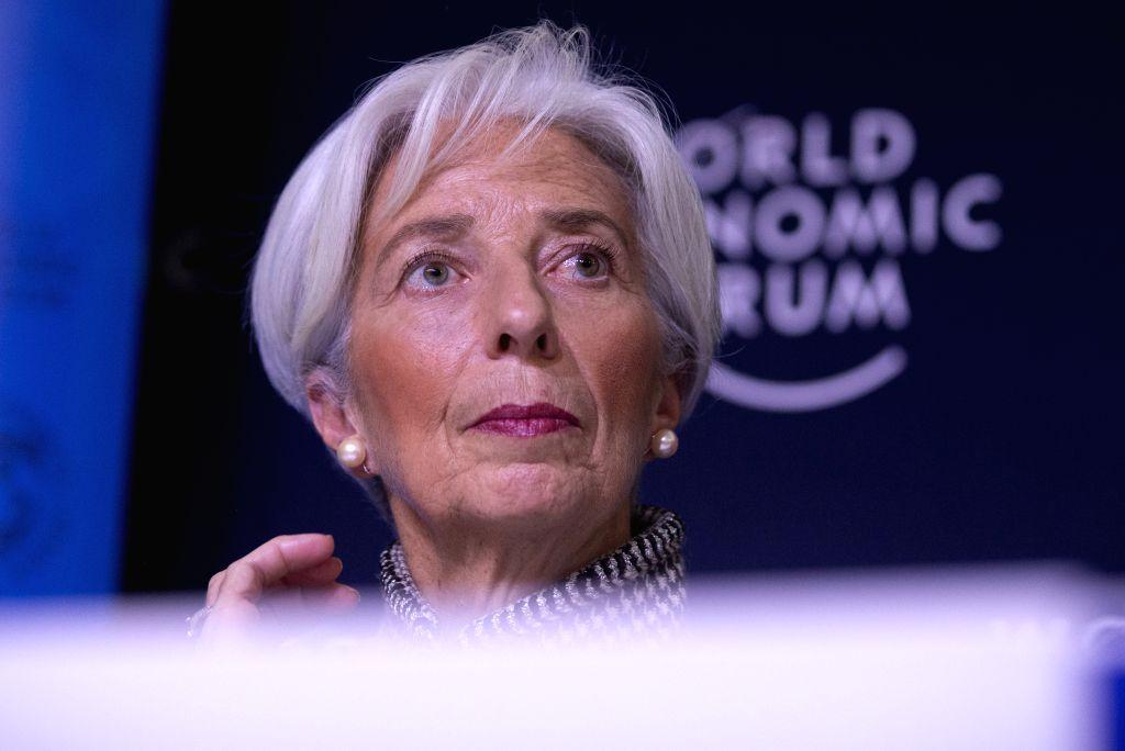 DAVOS (SWITZERLAND), Jan. 21, 2019 International Monetary Fund (IMF) Managing Director Christine Lagarde attends at a press conference in Davos, Switzerland, Jan. 21, 2019. The ...