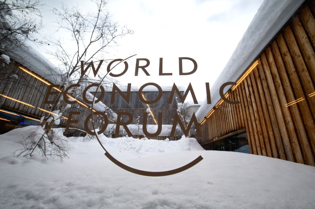 DAVOS (SWITZERLAND), Jan. 21, 2019 Photo taken on Jan. 21, 2019 shows the logo of the World Economic Forum (WEF) in Davos, Switzerland. The WEF Annual Meeting will kick off in Davos on ...
