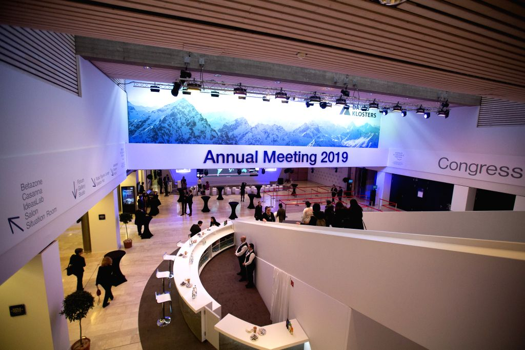 DAVOS (SWITZERLAND), Jan. 21, 2019 Workers prepare for the upcoming 49th Annual Meeting of the World Economic Forum (WEF) in Davos, Switzerland, Jan. 21, 2019. The WEF Annual Meeting will ...