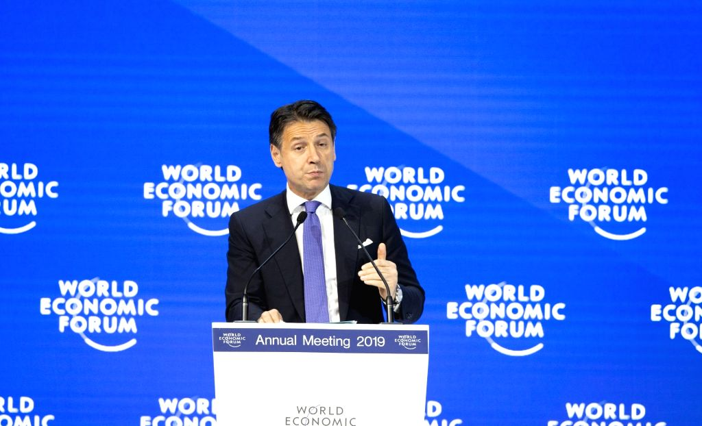 DAVOS (SWITZERLAND), Jan. 23, 2019 (Xinhua) -- Italian Prime Minister Giuseppe Conte speaks during a plenary session at the 49th annual meeting of the World Economic Forum (WEF) in Davos, Switzerland, Jan. 23, 2019. Attended by over 60 heads of state - Giuseppe Conte