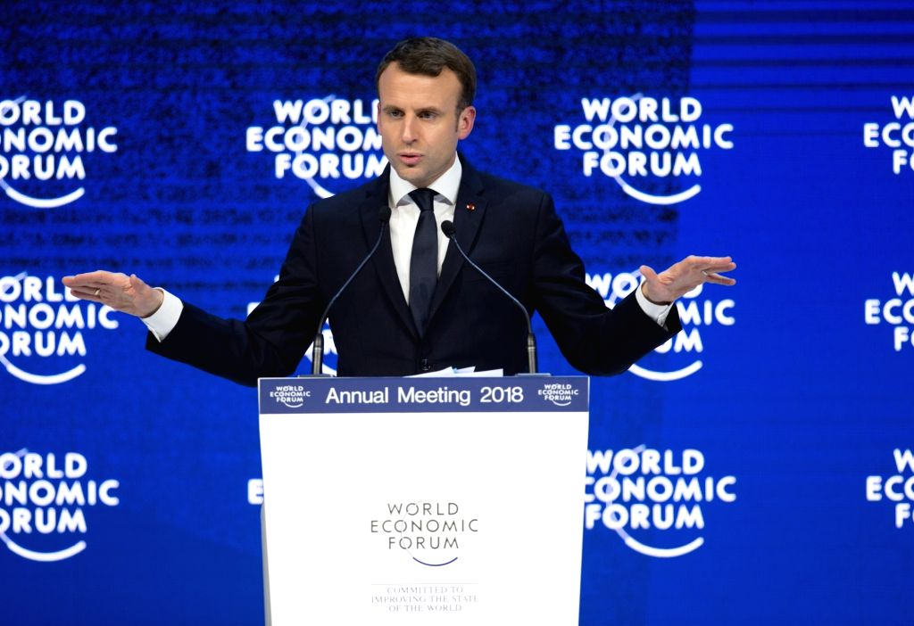 DAVOS (SWITZERLAND), Jan. 24, 2018 French President Emmanuel Macron addresses the 48th annual meeting of the World Economic Forum (WEF) in Davos, Switzerland, on Jan. 24, 2018. The 48th ...