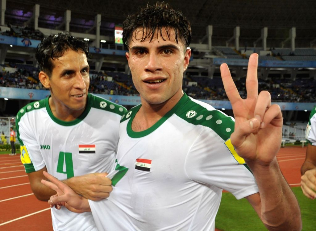 Dawood of Iraq celebrates after scoring a goal during ​a FIFA U17 World Cup India 2017 Group F match between Iraq and Chile at Salt Lake Stadium in Kolkata on Oct 11, 2017.
