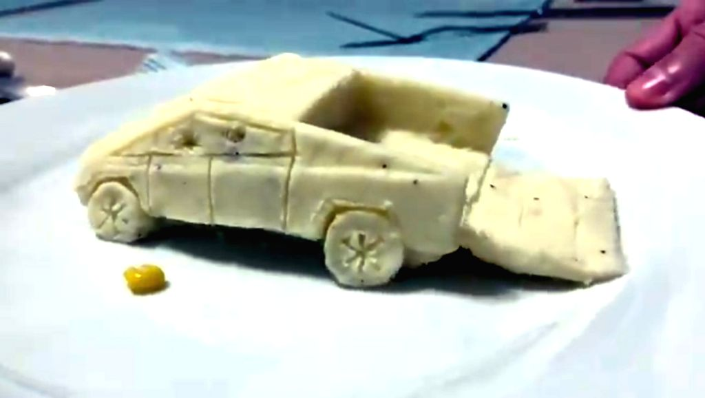 Days after Tesla company led by Elon Musk launched their electric Cybertruck, a video of a man carving out the vehicle from boiled potato and then pouring gravy over it has gone viral on Twitter.