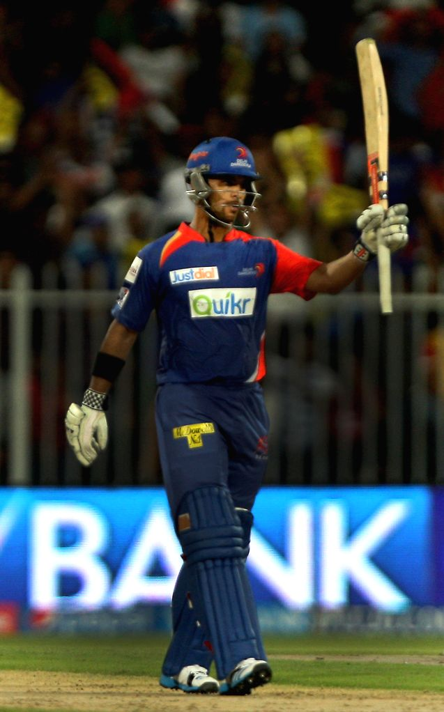 DD player JP Duminy gestures after scoring a half century during the second match of IPL 2014 between Delhi Daredevils and Royal Challengers Bangalore, played at Sharjah Cricket Stadium in Sharjah of