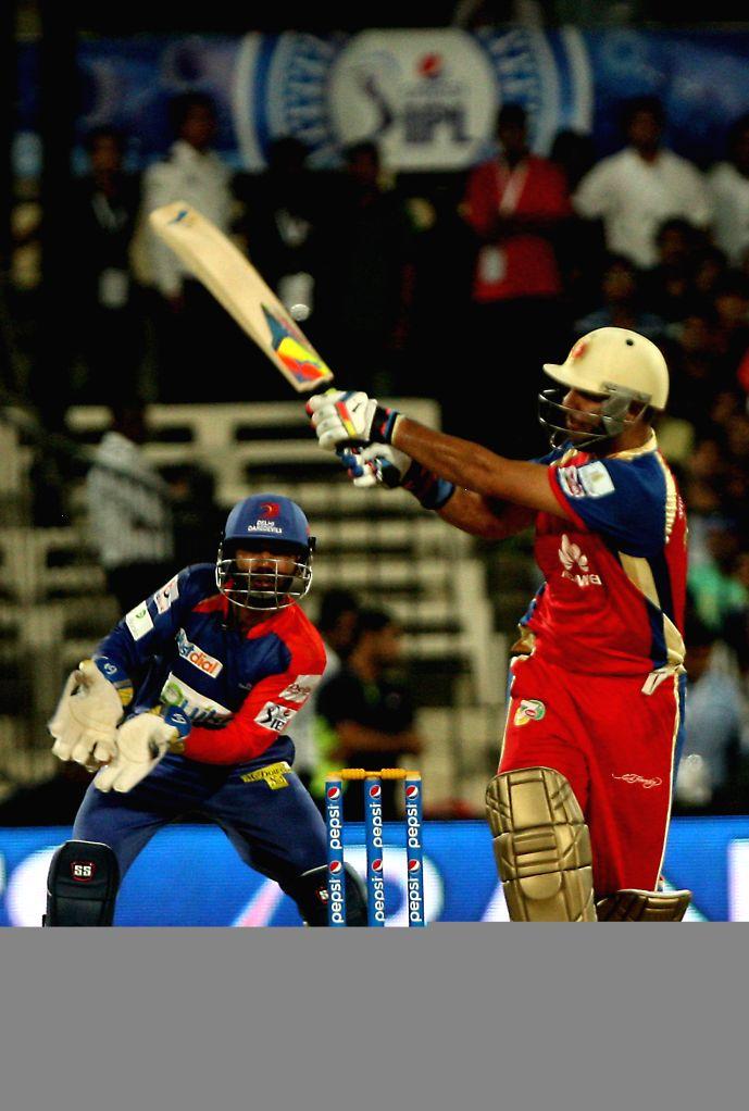 DD RCB batsman Yuvraj Singh in action during the second match of IPL 2014 between Delhi Daredevils and Royal Challengers Bangalore, played at Sharjah Cricket Stadium in Sharjah of United Arab ... - Yuvraj Singh