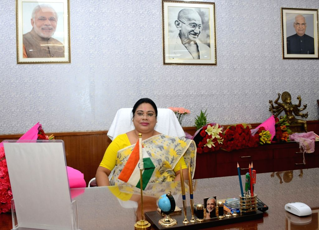 Debasree Chaudhuri takes charge as the Minister of State for Women and Child Development, in New Delhi on May 31, 2019.