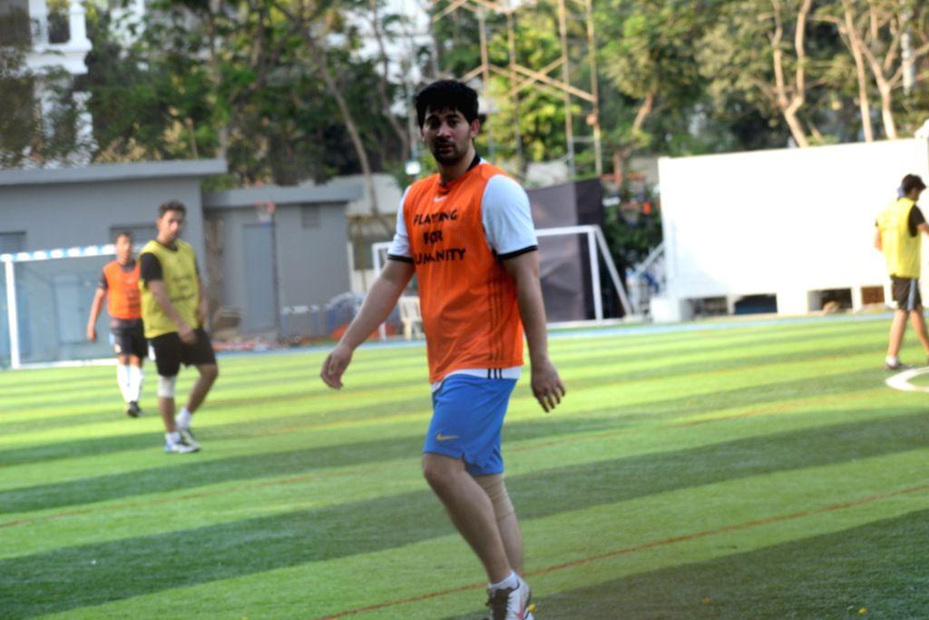 Debutant actor Karan Deol during a football match in Mumbai's Juhu, on April 14, 2019. - Karan Deol
