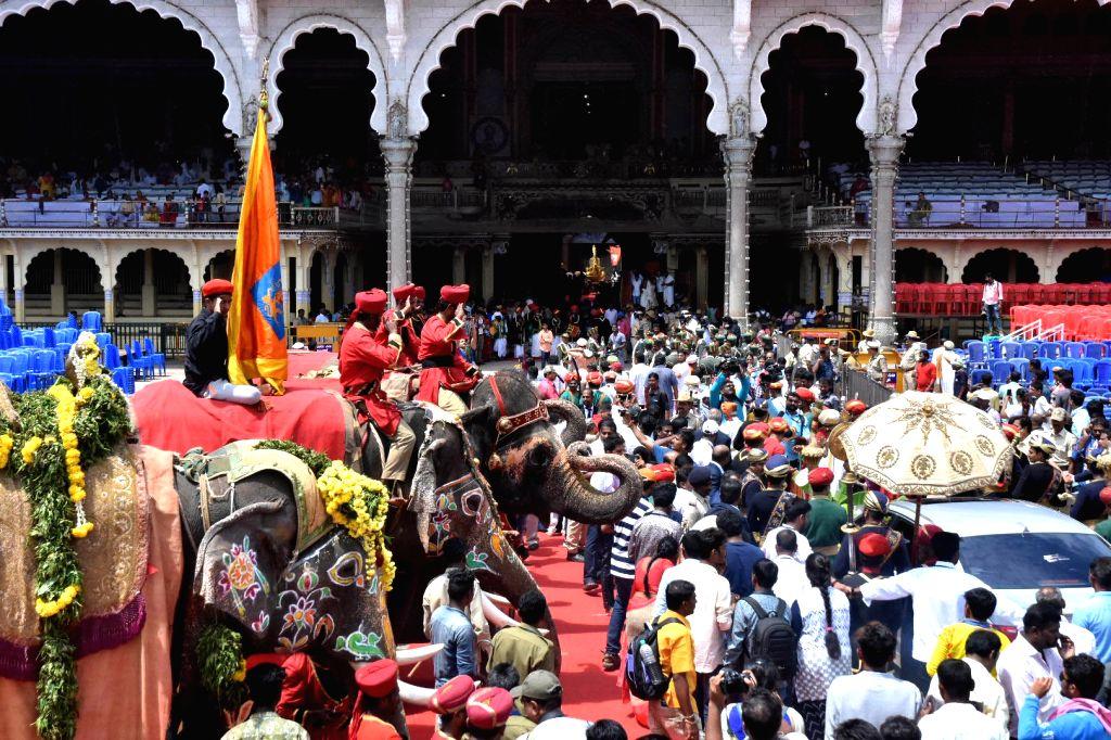 Decorated Dasara elephants during Vijayadashami celebrations at Mysuru Palace on Oct 8, 2019.