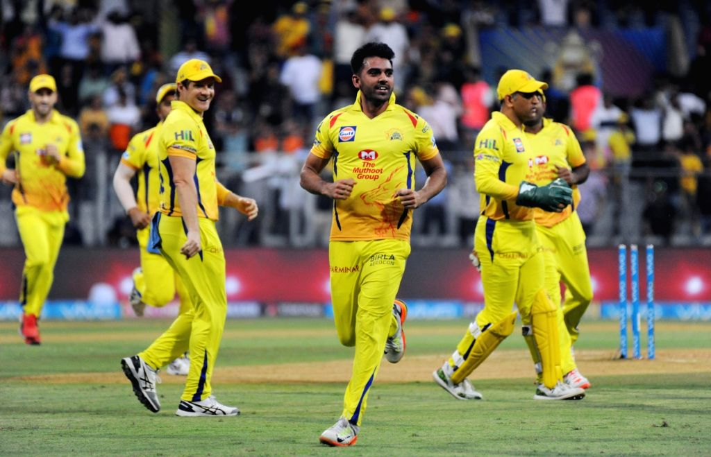 Deepak Chahar of Sunrisers Hyderabad celebrates the fall of Shikhar Dhawan's wicket during the first qualifier match of IPL 2018 between Chennai Super Kings and Sunrisers Hyderabad at ...