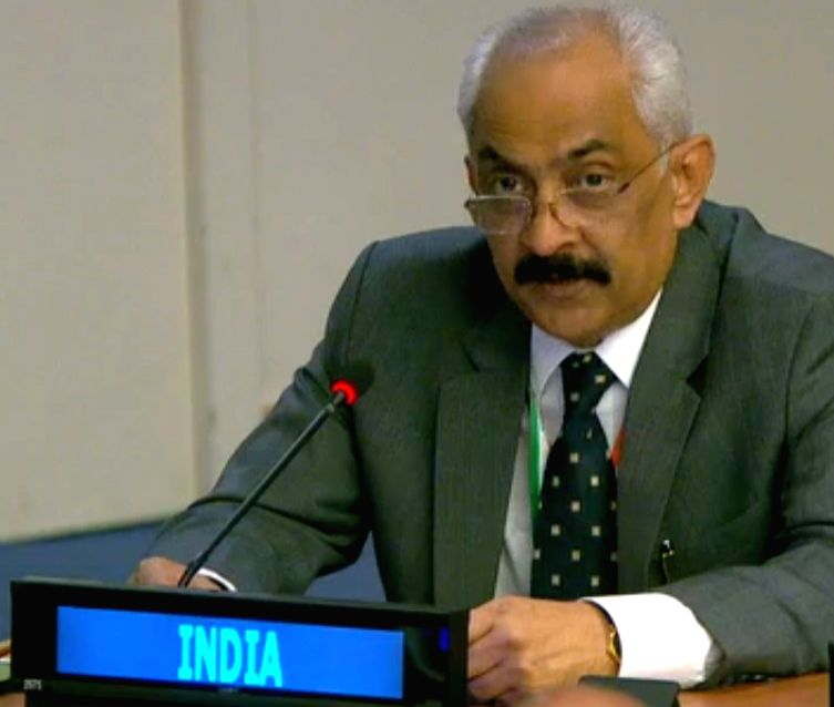 : Deepak Misra, a minister in the Indian Mission to the United Nations, speaks at a meeting of a UN General Assembly committee on information issues on Friday, Oct. 19, 2018. .