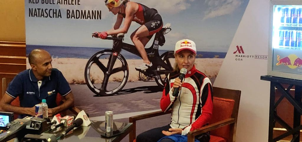 Deepak Raj, 20-times IRONMAN finisher and race director of the IRONMAN 70.3 race with Natascha Badmann, six-time Ironman world champion and Red Bull athlete during a press conference in ...