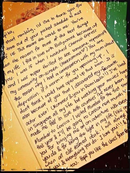 Deepika Padukone shares handwritten letters written by fans. - Deepika Padukone