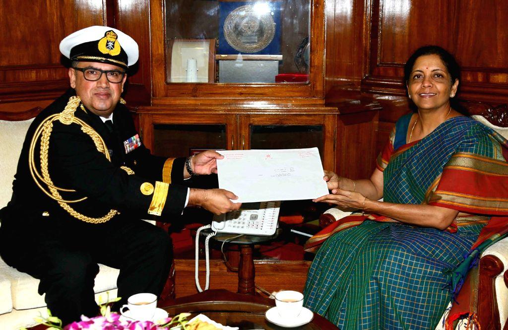 Defence Attache, Embassy of the Sultanate of Oman, Commodore Thabit M L Al-Zadjali calls on Union Defence Minister Nirmala Sitharaman in New Delhi on Oct 11, 2017. - Nirmala Sitharaman