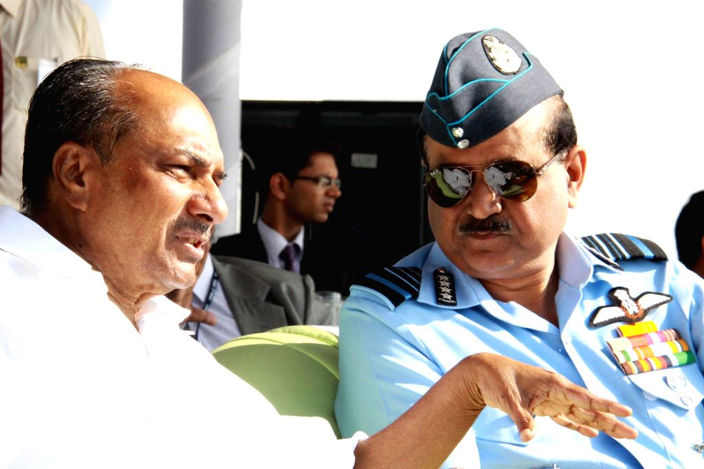 Defence Minister A.K. Antony and Air Chief Marshal NAK Browne during a function where indigenously-designed `Tejas`, regarded as the smallest and the lightest combat jet in the world was tested for ..