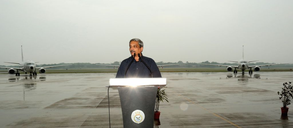 Defence Minister Manohar Parrikar addresses at the Induction Ceremony of P8i Aircraft at INS Rajali near Chennai on Nov. 13, 2015.
