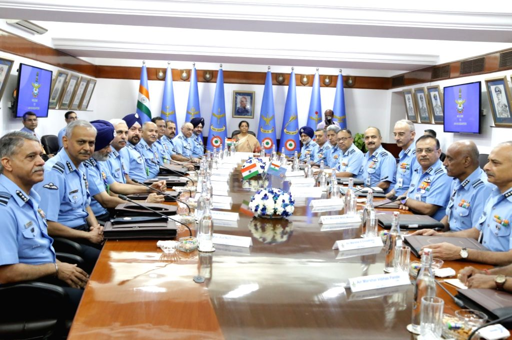 Defence Minister Nirmala Sitaraman chairs the  IAF Commanders??? Conference at Air Headquarters (Vayu Bhavan), in New Delhi, on April 11, 2019. Also seen Air Chief Marshal B.S. Dhanoa. - Nirmala Sitaraman