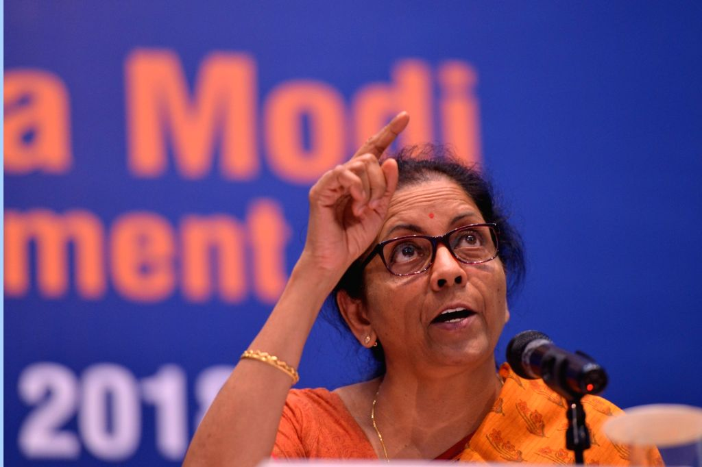 Defence Minister Nirmala Sitharaman addresses a press conference on the achievements of Ministry of Defence in last four years; in New Delhi on June 5, 2018. - Nirmala Sitharaman