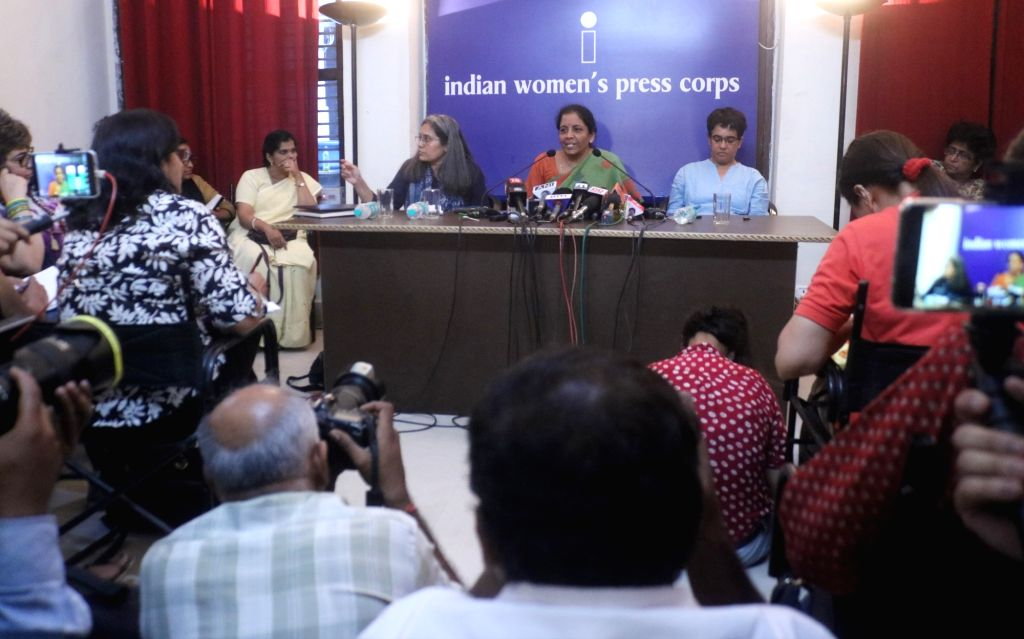 Defence Minister Nirmala Sitharaman addresses a press conference at the Indian Women's Press Corps (IWPC), in New Delhi on Sept 18, 2018. - Nirmala Sitharaman