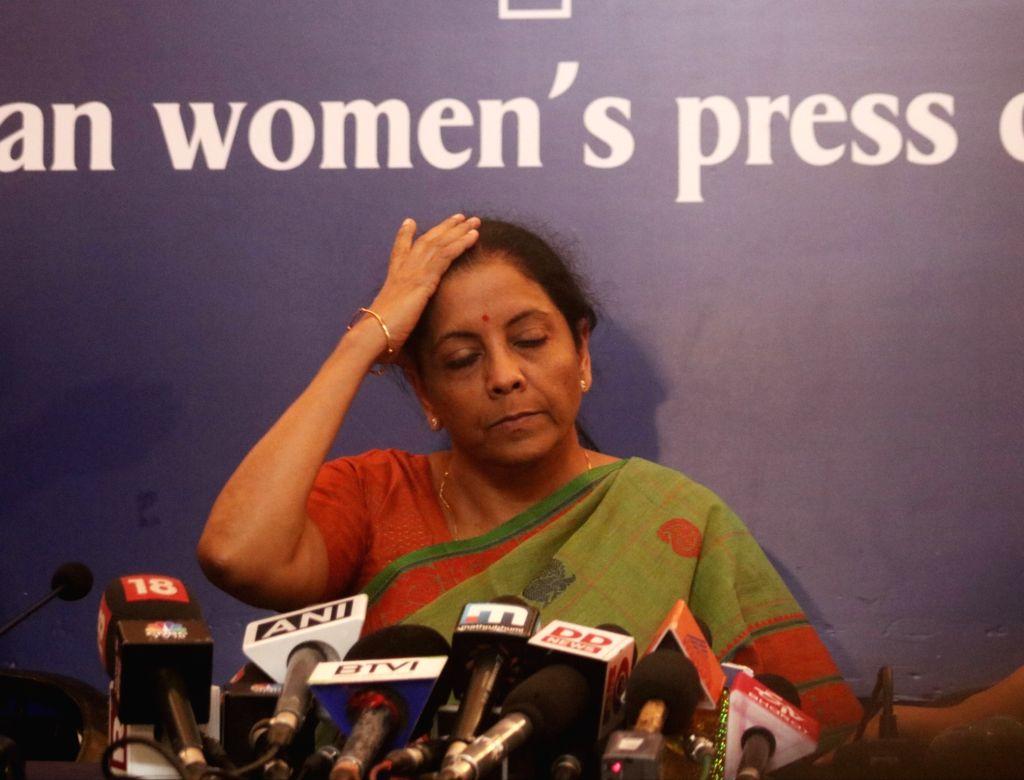 Defence Minister Nirmala Sitharaman addresses a press conference in New Delhi on Sept 18, 2018. - Nirmala Sitharaman