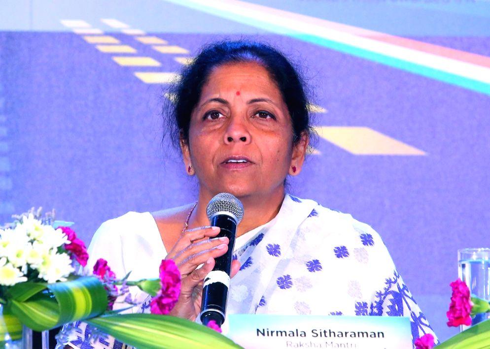 Defence Minister Nirmala Sitharaman addresses a curtain raiser press conference, on the sidelines of the Aero India-2019, in Bengaluru on Feb 19, 2019. - Nirmala Sitharaman