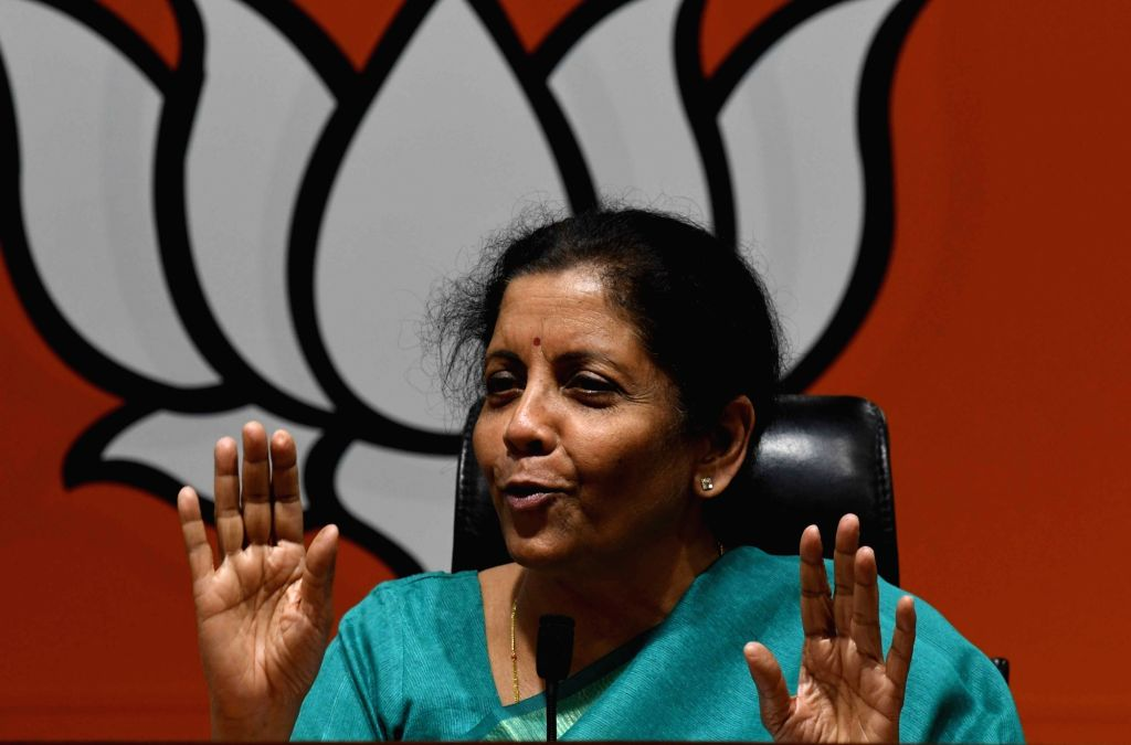 Defence Minister Nirmala Sitharaman addresses a press conference, in New Delhi, on April 10, 2019. - Nirmala Sitharaman