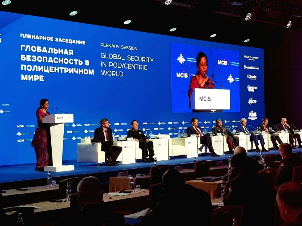 Defence Minister Nirmala Sitharaman addresses at the plenary session of the 7th Moscow Conference on International Security, in Moscow, Russia on April 4, 2018. - Nirmala Sitharaman
