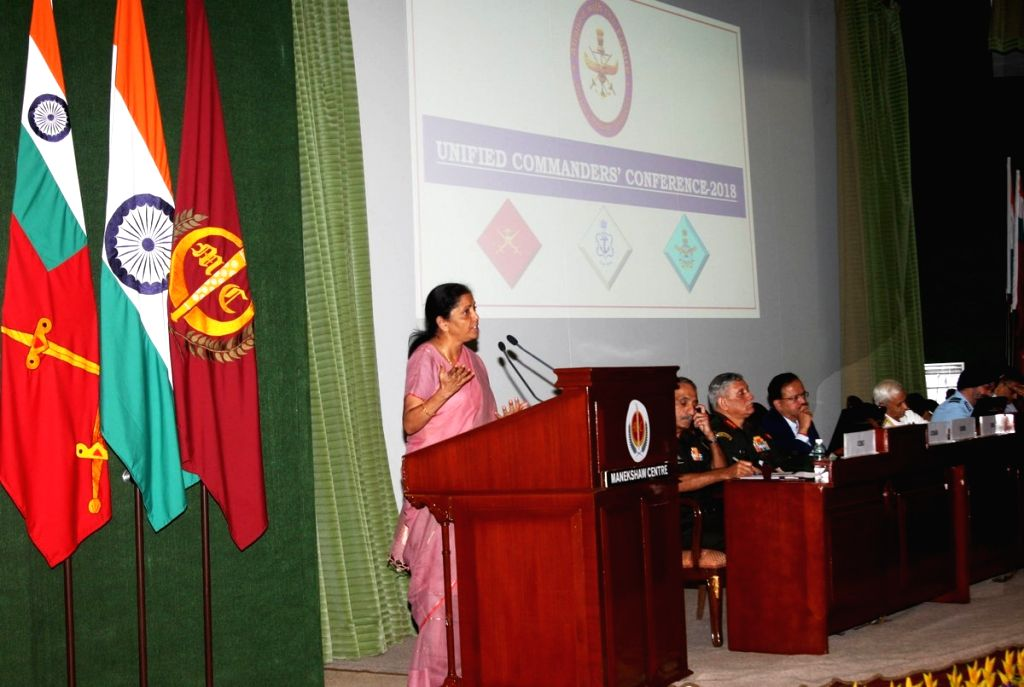 Defence Minister Nirmala Sitharaman addresses at Unified Commanders' Conference 2018 in New Delhi on July 31, 2018. - Nirmala Sitharaman