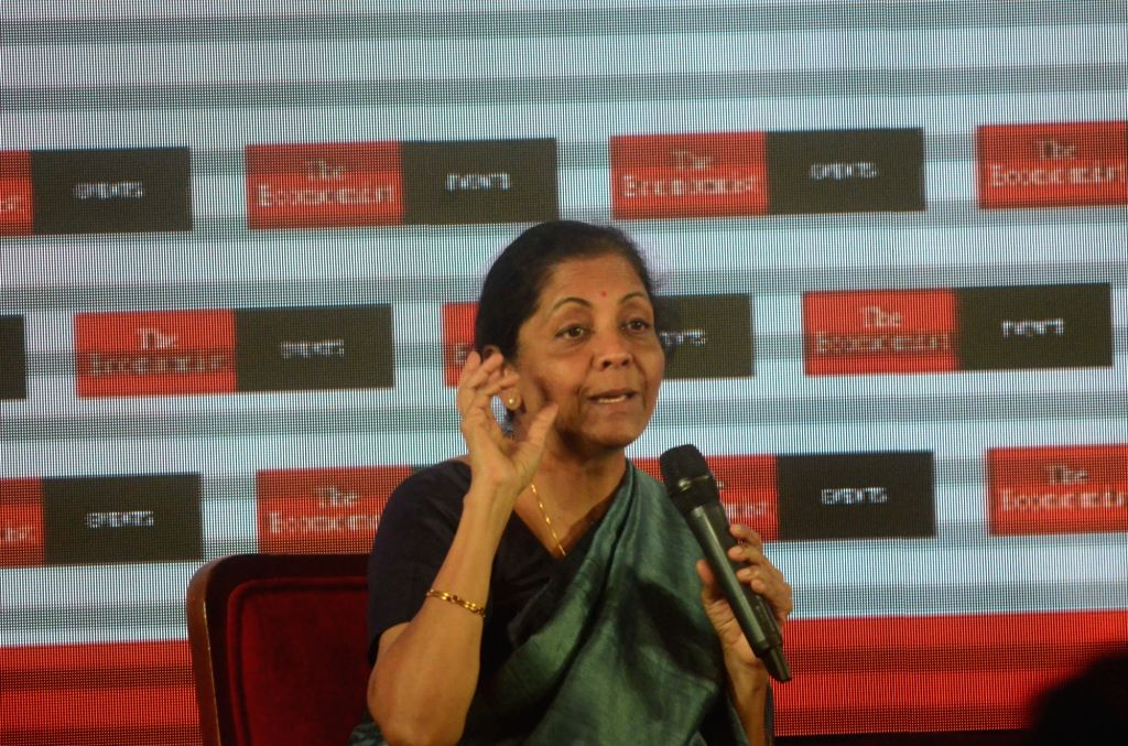 Defence Minister Nirmala Sitharaman addresses at 'The Economist India Summit 2018', in Mumbai on Oct 25, 2018. - Nirmala Sitharaman
