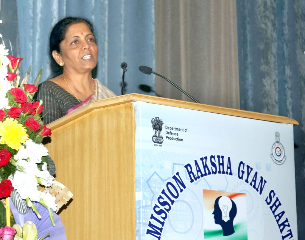 Defence Minister Nirmala Sitharaman addresses at the launch of 'Mission Raksha Gyan Shakti' in New Delhi, on Nov 27, 2018. - Nirmala Sitharaman