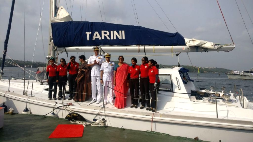 Defence Minister Nirmala Sitharaman and Chief of the Naval Staff Admiral Sunil Lanba with the all-women crew of Indian Navy's sailing boat INSV Tarini that reached Goa on May 21, 2018. The ... - Nirmala Sitharaman