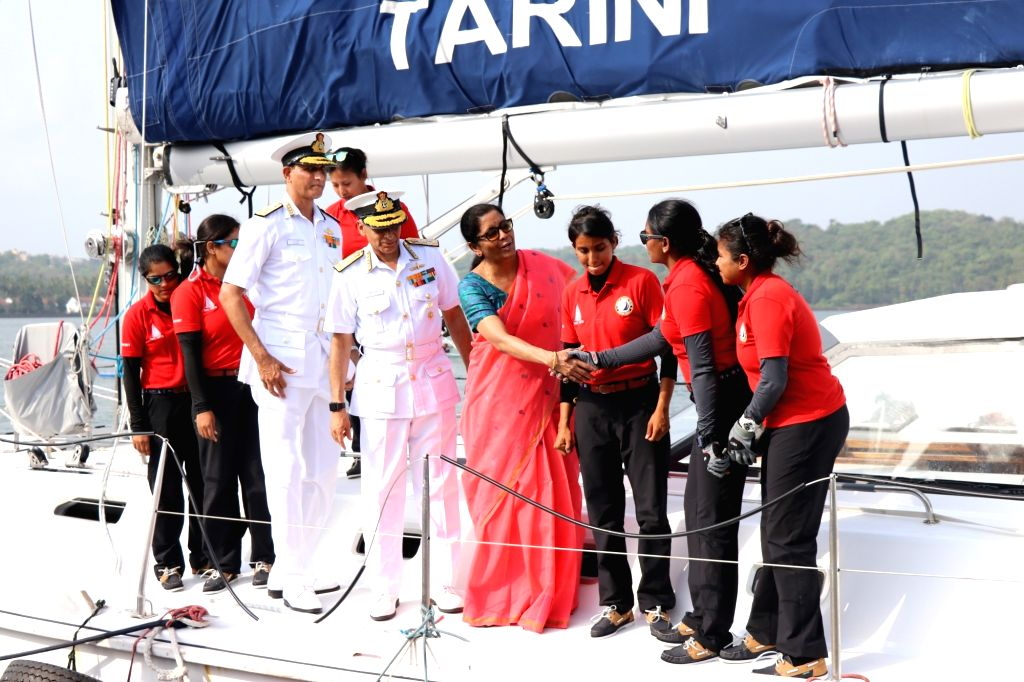 Defence Minister Nirmala Sitharaman and Chief of the Naval Staff Admiral Sunil Lanba welcome the all-women crew of Indian Navy's sailing boat INSV Tarini that reached Goa on May 21, 2018. The ... - Nirmala Sitharaman