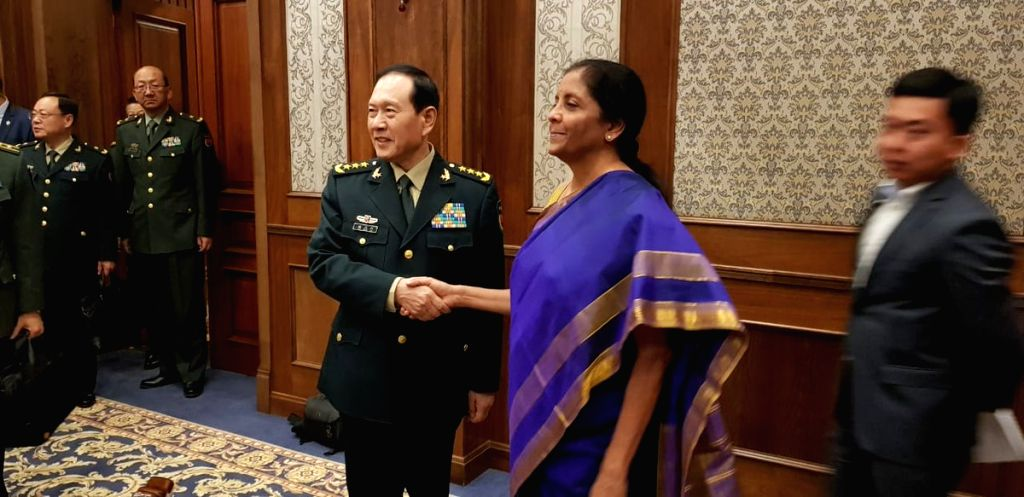Defence Minister Nirmala Sitharaman and Chinese Defence Minister General Wei Fenghe during a bilateral meeting on the sidelines of the Shanghai Cooperation Organisation (SCO) Defence ... - Nirmala Sitharaman