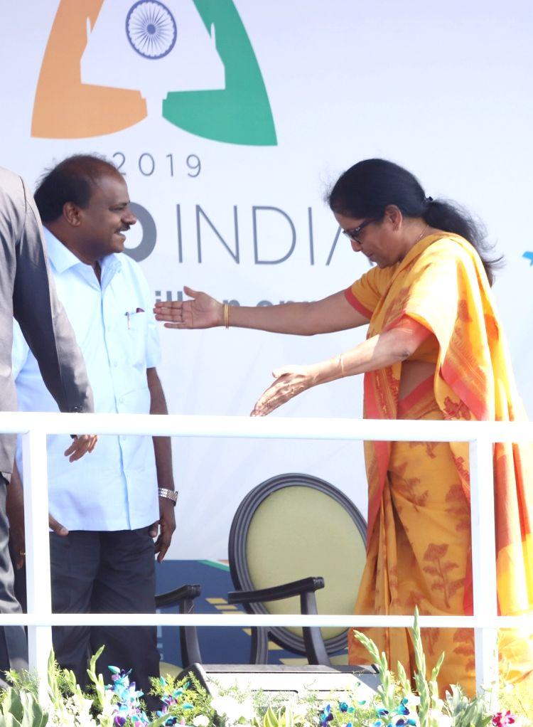 "Defence Minister Nirmala Sitharaman and Karnataka Chief Minister H.D. Kumaraswamy during the inauguration of the ""Aero India 2019"" - air show at Yelahanka Air Force Station, in ... - Nirmala Sitharaman"