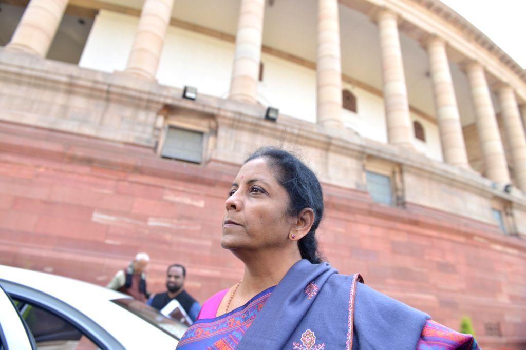 Defence Minister Nirmala Sitharaman arrives at Parliament in New Delhi, on Feb 8, 2019. - Nirmala Sitharaman