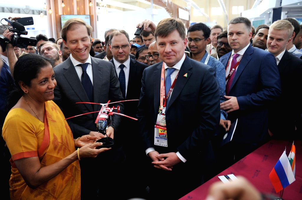"Defence Minister Nirmala Sitharaman at a ""Aero India 2019"" - air show stall at Yelahanka Air Force Station, in Bengaluru, on Feb 20, 2019. - Nirmala Sitharaman"