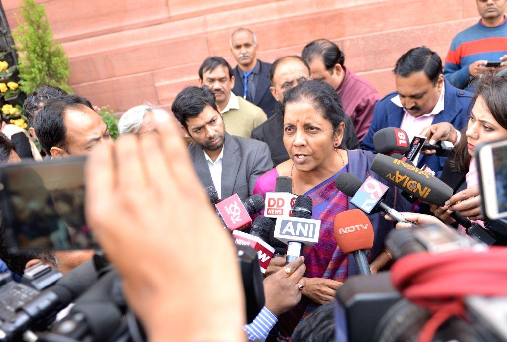 Defence Minister Nirmala Sitharaman at Parliament in New Delhi, on Feb 8, 2019. - Nirmala Sitharaman