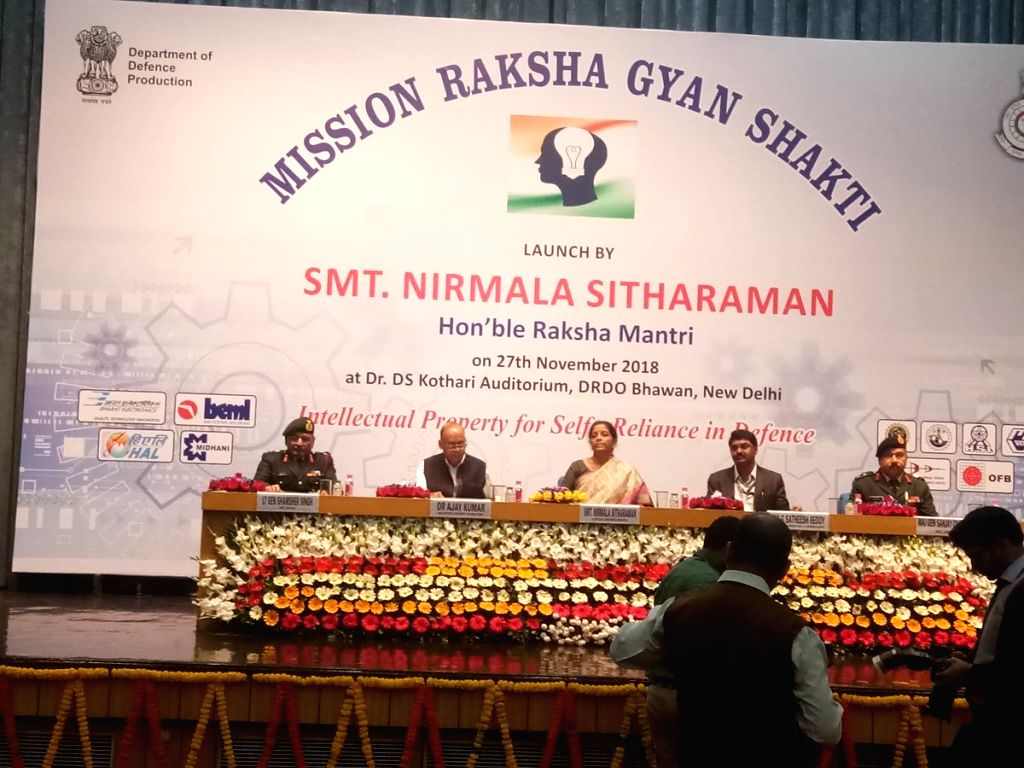 Defence Minister Nirmala Sitharaman at the launch of Mission Raksha Gyan Shakti at DRDO Bhawan in New Delhi, on Nov 27, 2018. - Nirmala Sitharaman