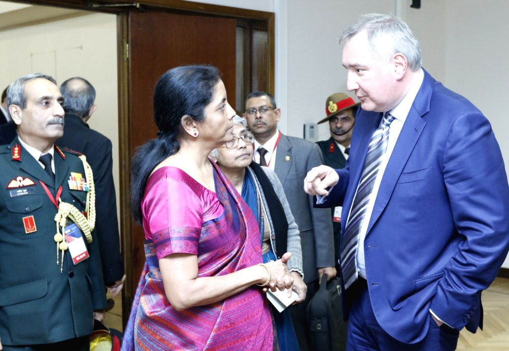 Defence Minister Nirmala Sitharaman calls on Russian Deputy Prime Minister Dmitry Rogozin, on the sidelines of 'VIIth Moscow Conference on International Security' in Moscow, Russia on ... - Nirmala Sitharaman