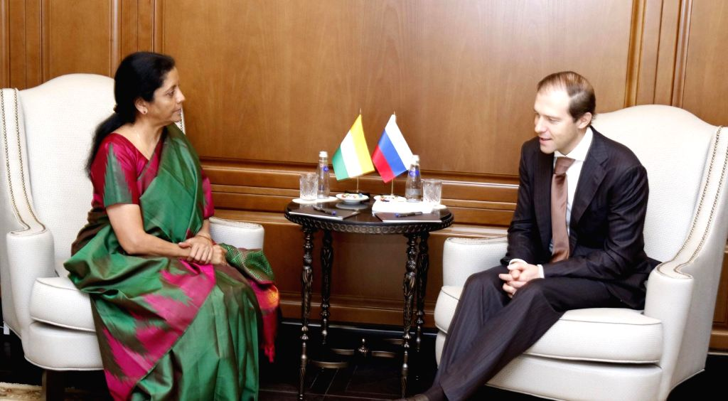 Defence Minister Nirmala Sitharaman during a bilateral meeting with Russian Industry and Trade Minister Denis Manturov, in Moscow on April 3, 2018. - Nirmala Sitharaman