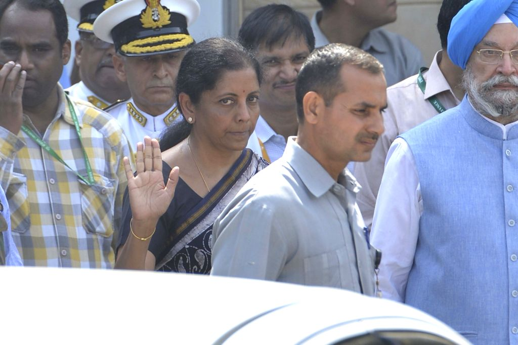 Defence Minister Nirmala Sitharaman during the state funeral of Marshal of the Indian Air Force (IAF) Arjan Singh at Brar Square in New Delhi on Sept 18, 2017. - Nirmala Sitharaman and Arjan Singh