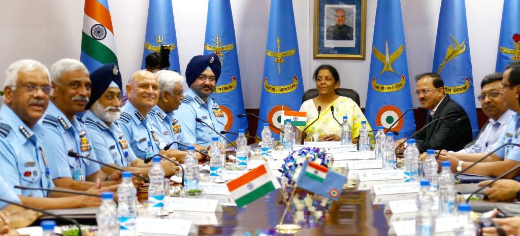 Defence Minister Nirmala Sitharaman during the Air Force Commanders' Conference, in New Delhi on May 31, 2018. Also seen MoS Subhash Ramrao Bhamre and Chief of the Air Staff, Air Chief ... - Nirmala Sitharaman