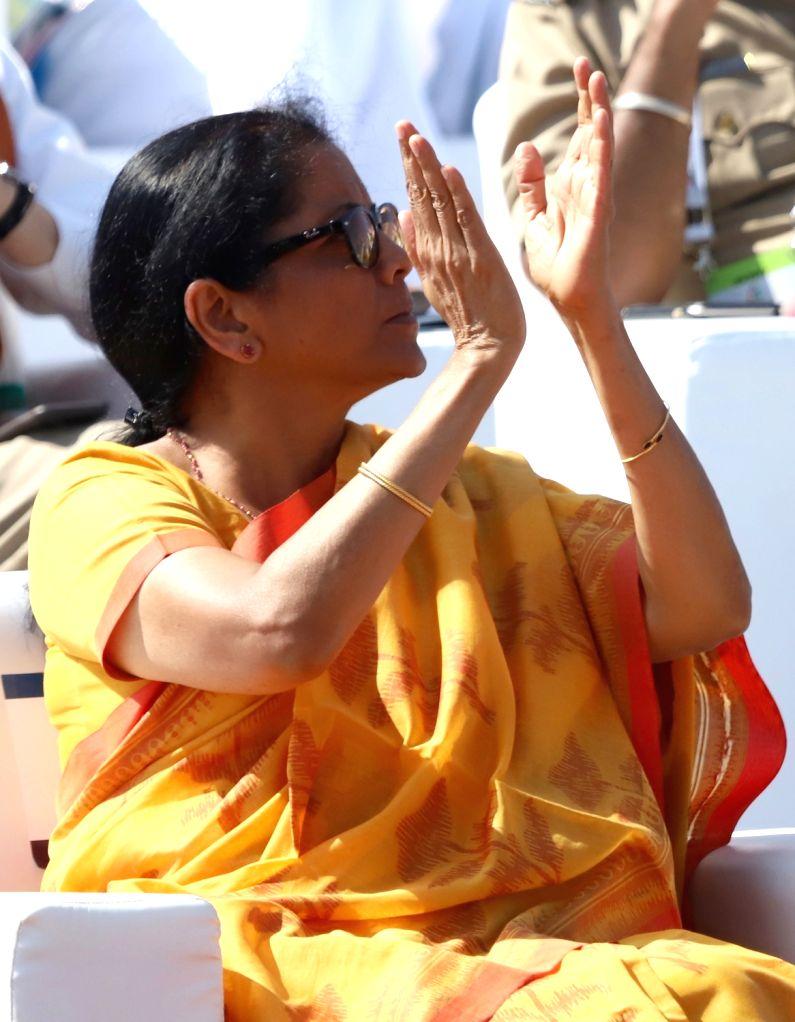 "Defence Minister Nirmala Sitharaman during the inauguration of the ""Aero India 2019"" - air show at Yelahanka Air Force Station, in Bengaluru, on Feb 20, 2019. - Nirmala Sitharaman"
