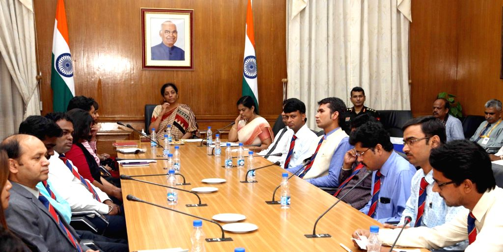 Defence Minister Nirmala Sitharaman interacts with the participants of the Defence Correspondents' Course (DCC)-2018, in New Delhi on Sept 19, 2018. - Nirmala Sitharaman
