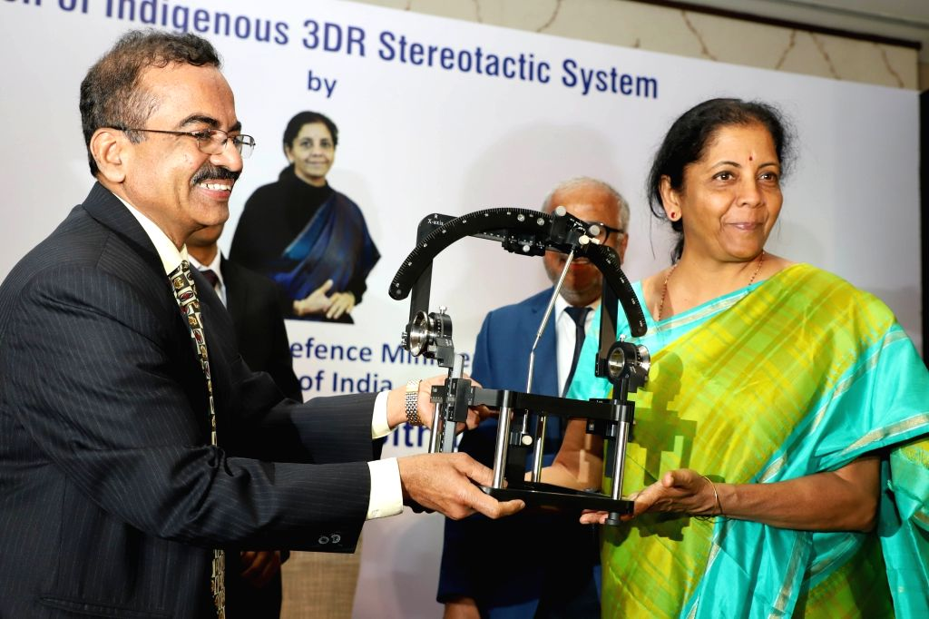 "Defence Minister Nirmala Sitharaman launches ""Indigenous 3DR Stereotactic System"" in Bengaluru, on Feb 19, 2019. Also seen Brains Hospital Founder and Chief Neurosurgeon NK ... - Nirmala Sitharaman"