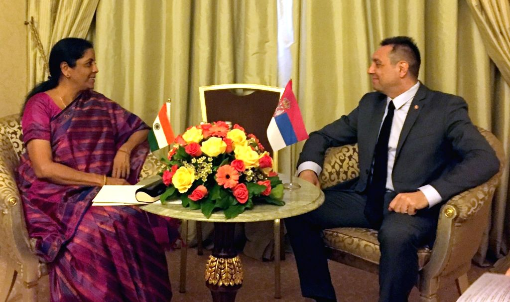 Defence Minister Nirmala Sitharaman meets her Serbian counterpart Aleksandar Vulin, on the sidelines of 'VIIth Moscow Conference on International Security' in Moscow, Russia on April 4, ... - Nirmala Sitharaman