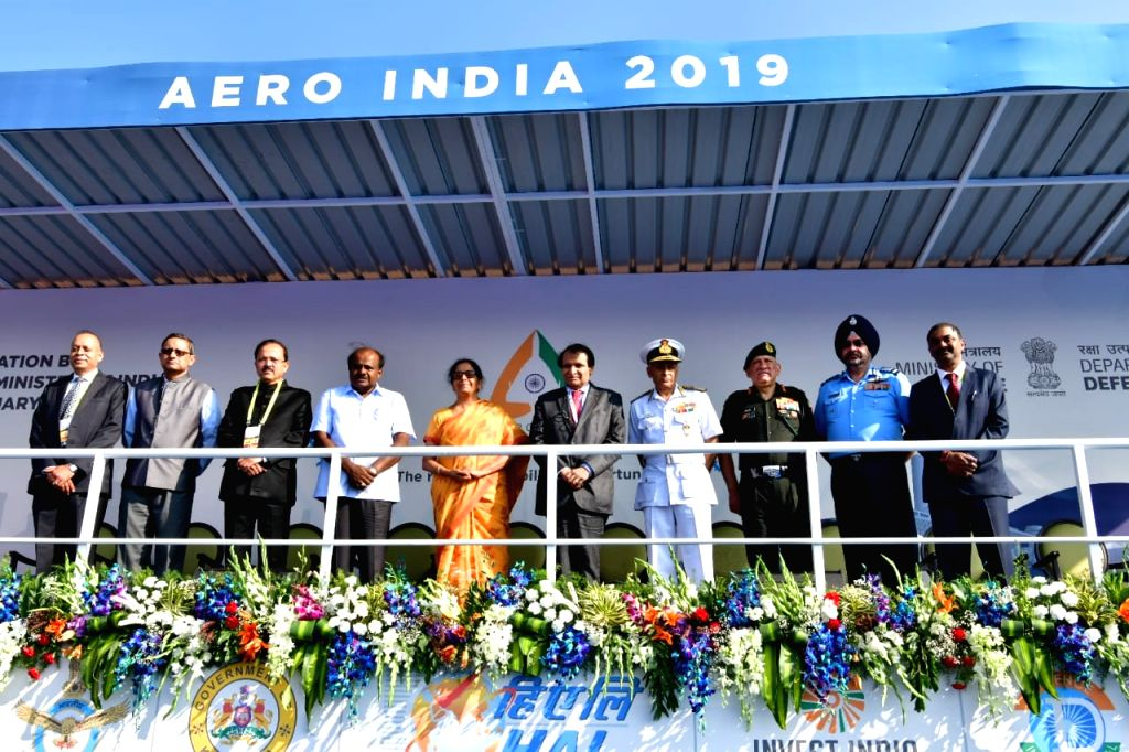 Defence Minister Nirmala Sitharaman, Union Civil Aviation Minister Suresh Prabhu, Union MoS Defence Subhash Bhamre, Chief of the Naval Staff, Admiral Sunil Lanba, Chief of the Air Staff, ... - Nirmala Sitharaman and Suresh Prabhu