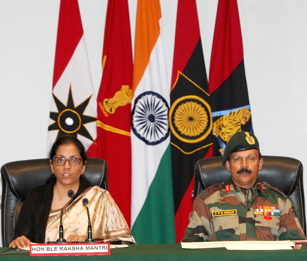 Defence Minister Nirmala Sitharaman with GOC Rising Star Corps, Lt. Gen. Y.V.K. Mohan, addresses a press conference after Sunjuwan Military Station attack, at Jammu Military Station, on Feb ... - Nirmala Sitharaman